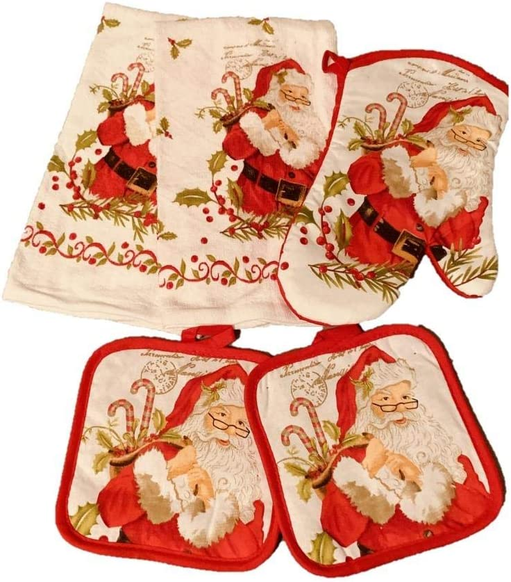 North Pole Deliveries Christmas Holiday 5 Pc Kitchen Towel Oven Mitt and Pot Holder Set