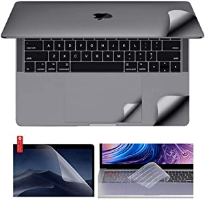 MacBook Protective-Skin Decal-Sticker Case Screen-Protector Keyboard-Cover 6in1 3M Full Body Vinyl Invisible Stealth Armor (MacBook Pro 13 inch 2020 A2251, Space Grey)