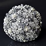 Abbie Home Handmade Luxury Wedding Bridal Rose Bouquet-Advanced Sparkle Full Rhinestone and Glaring Pearl Covered Bride Brooch Bouquet-Grey