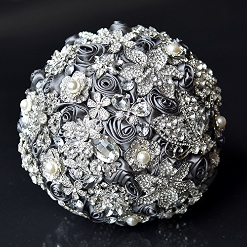 Abbie Home Handmade Luxury Wedding Bridal Rose Bouquet-Advanced Sparkle Full Rhinestone and Glaring Pearl Covered Bride Brooch Bouquet-Grey by Abbie Home