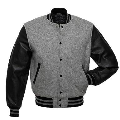 Varsity Jackets Black Leather Sleeves Grey Mlange Wool Body