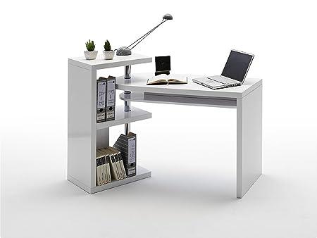 Dreams4Home escritorio Justin, blanco HGL DM, puerta de armario ...