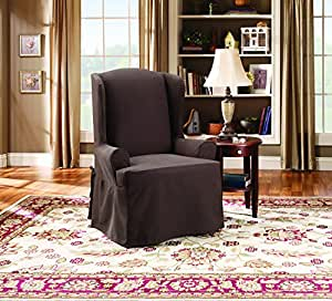 Sure Fit Twill Supreme  - Wing Chair Slipcover  - Coffee (SF37743)
