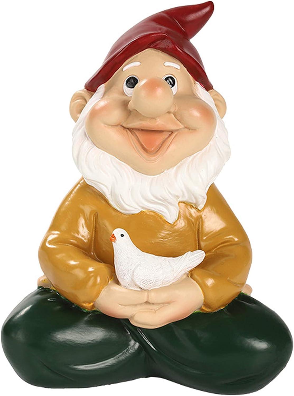 Idle Hippo Zen Garden Gnome Holding Bird, Outdoor Gnome Statue Decorations, Funny Garden Figurines for Lawn Patio Yard Decor