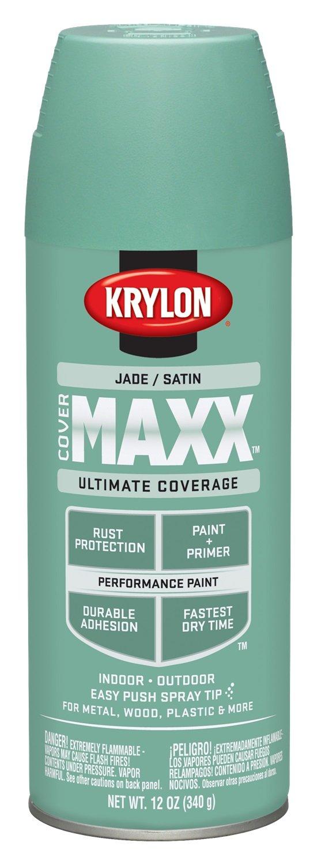 Krylon K09169000 COVERMAXX Spray Paint, Satin Jade, 12 Ounce