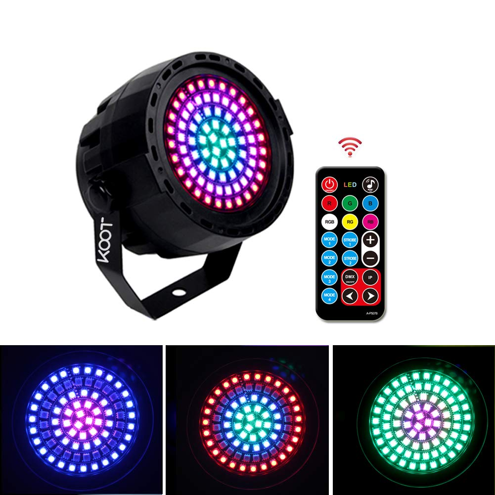 KOOT Stage DJ Lights- 78 Leds RGB 2019 New Generation Disco Lights, Sound Activated Strobe Wash Lights with Remote and DMX Control Detachable Power Cable for Wedding DJ Bar Christmas by KOOT