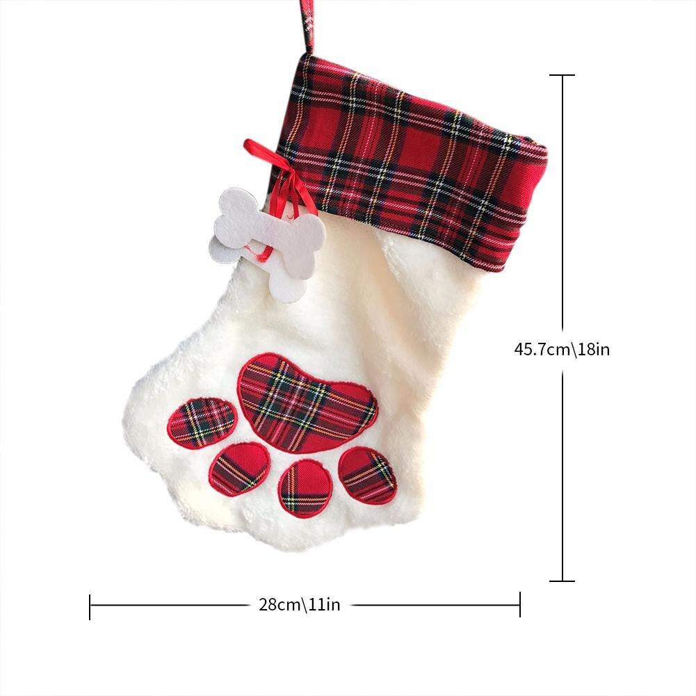 Jannyshop Calcetines de Navidad Patrón de Perro Decoración la Chimenea Rojo: Amazon.es: Bricolaje y herramientas