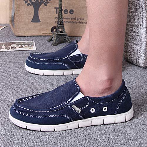 Pisos Oscuro Sólidos Azul Verano Zapatos Luz Cómodo Mocasines De Primavera Plana Ultraligero Perezoso Moda Lona Los Clásica Hombres CSAqw