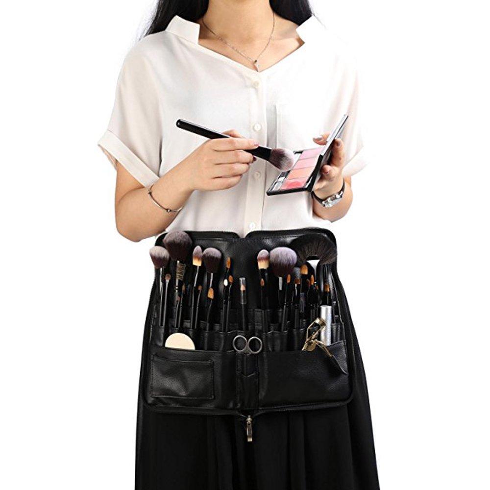 WasonD 32 Pockets Cosmetic Makeup Brush Organizer Belt Bag with Artist Strap + 2 Washing Brush Scrubber by WasonD (Image #6)