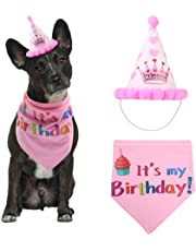 Dog Happy Birthday Bandana Scarfs and Cute Party Hat for Girls Boys,Soft Scarf & Adorable Hat for Party Accessory,Pet Birthday Gift Decorations Set (Pink)