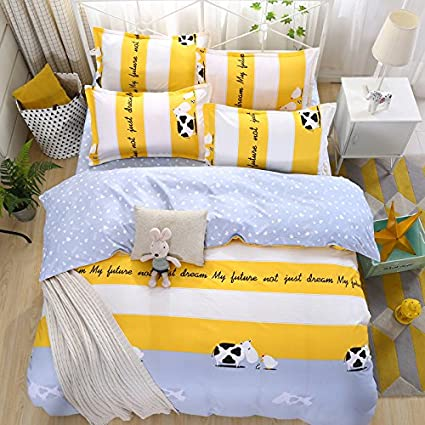Bed SET 4pcs Kids Beddingset Duvet Cover Set No Comforter Flat Sheet Pillow  Case Duvet Cover
