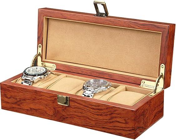 Caja de Relojes Estuche Caja de Almacenamiento 4 Ranuras, Caja de Almacenamiento, Reloj, botón de Metal, Regalo para Hombres, Bandeja de Valet para Hombre, joyería, Brazalete, Funda de: Amazon.es: Hogar