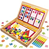 Letters Numbers Shapes Colors Magnets Set Educational Toy 20 Tasks On Worksheets XL Wooden Magnetic Board Blackboard Writing Drawing Doodle Side Dry Erase Board 3 to 6 Year Old JQP Toys