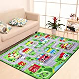 Kids Play Mat Children Play Carpet,Ultra Cozy Learning Area Rugs Non-Slip Nylon Game Mats,Anti-slip Latex Backed Home Play Rug for Boys and Girls,City Roadway Kid Playmat,39.4''x 59.1''