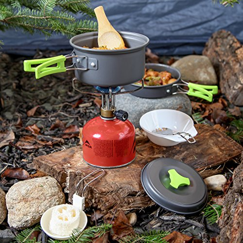 MalloMe Camping Cookware Kit with Folding Spork, Nylon Bag and Ebook (10-Piece)