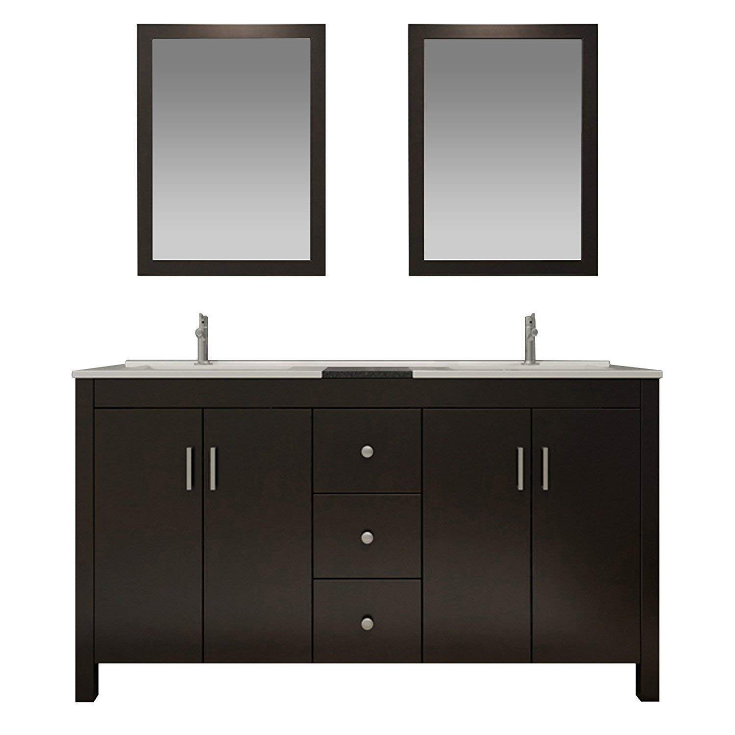 ARIEL 72 Inch Double Sink Bathroom Vanity Set In Espresso