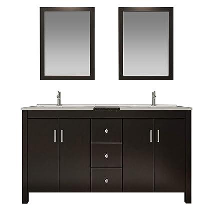 Ariel 72 Inch Double Sink Bathroom Vanity Set In Espresso