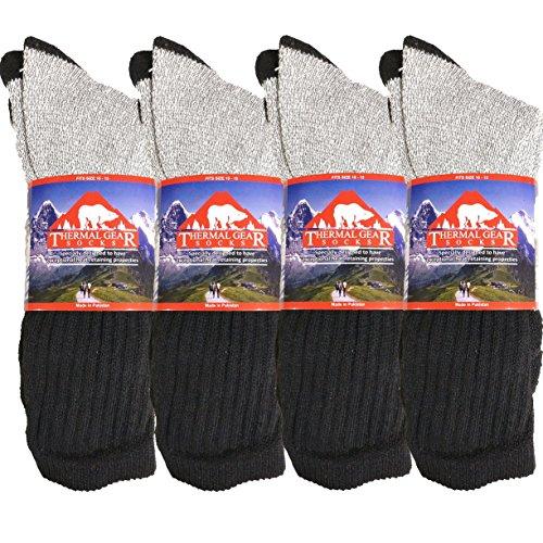 USBingoshop 12 Pairs Thermal Socks Winter Ultra Warm Boot Socks Fits Size 10-15 (12PK-Crew-BLK) (Thermal Boot Socks)