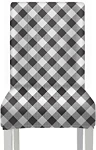 AQQA RemovableChairSeatCovers Plaid Gingham Checkered ChairsSlipcoversforDiningRoom Stretch Removable Washable SeatCoverforDiningChair for Home Kitchen Party Restaurant Wedding