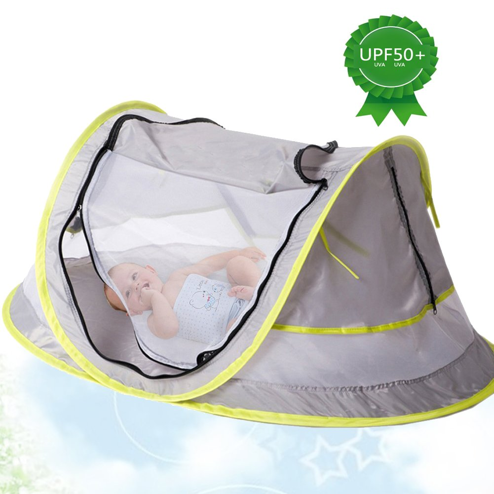 Portable Baby Beach Tent Pop up Bed Lightweight Travel Crib Bed Outdoor Backpacking Tent - UPF 50+ Anti-UV - Sun Shelter Mosquito Net for Infant