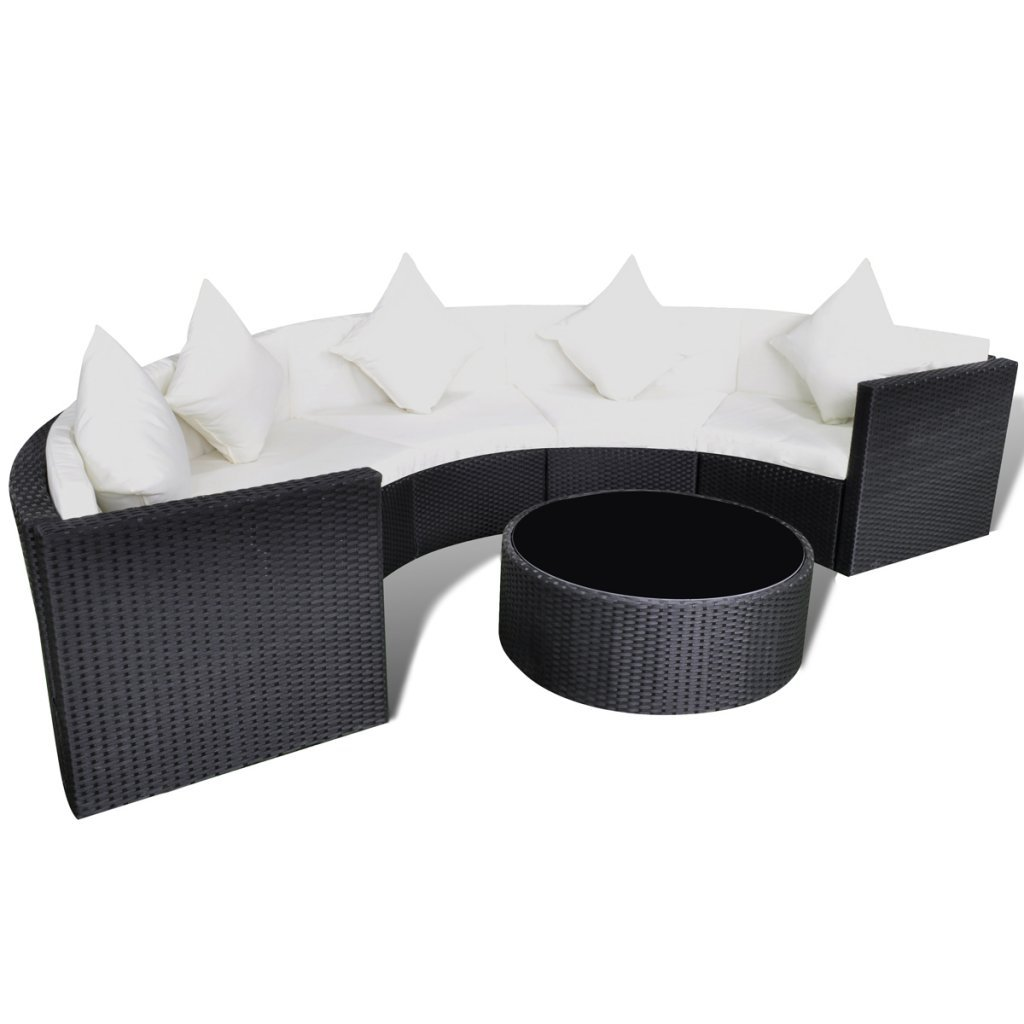 Innovativ Anself Half-round Poly Rattan Garden Lounge Set Sofa Set Black  WW56
