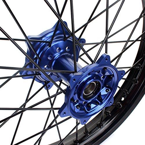 TARAZON 18'' MX Rear Complete Wheel Set Rim Spokes Blue Hub for Yamaha YZ250F YZF250 YZ450F YZF450 2009-2017 by TARAZON (Image #2)