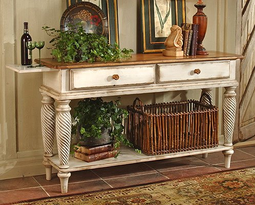 Hillsdale Furniture 4508SB Wilshire 35'' Long Sideboard with 2 English Dovetail Drawers Bottom Shelf and Chilean Pine Construction in Antique