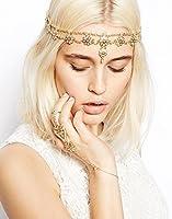 Hypnotique Antique Rhinestone and Imitation Pearl Gold-tone Fashion Headband Head Chain