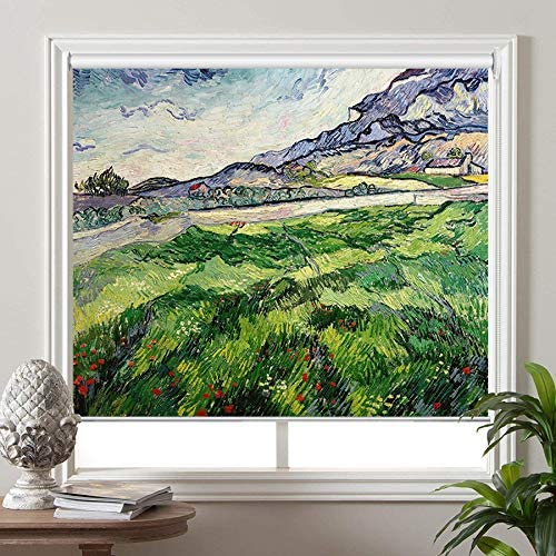 PASSENGER PIGEON Blackout Window Shades, Green Wheat Field, by Vincent Van Goah, Premium UV Protection Custom Roller Blinds, 71 W x 60 L