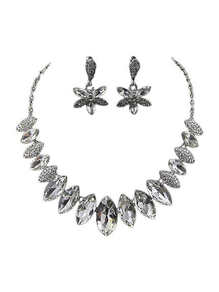 4f047192b162 TreasureBay elegante cristal transparente diamante FUNDA collar y  pendientes Conjunto de joyas