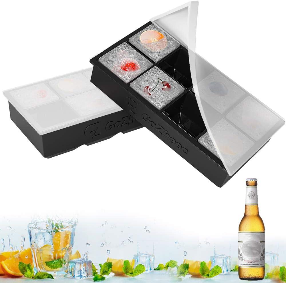 Bandeja De Hielo De Silicona, Bandeja de Cubitos de Hielo con Tapa, [2 Pack] cubitera hielo Molde para Hielos, para Congelarse Alimentos para Bebés, Cola,Cócteles Cola Whisky