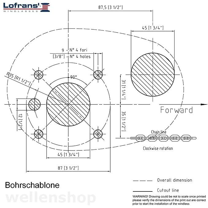 wellenshop Ankerwinde Lofrans X1 Bronze 700W Kette 6mm Seil 10-12mm ...