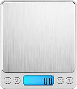 Digital Kitchen Scale, Landcorssers 3000g/ 0.1g Kitchen Scale, High-precision Electronic Mini Food Scale, Pocket Cooking Scale, Flat Slim Design, Premier LCD Digital Electronic- Batteries Included