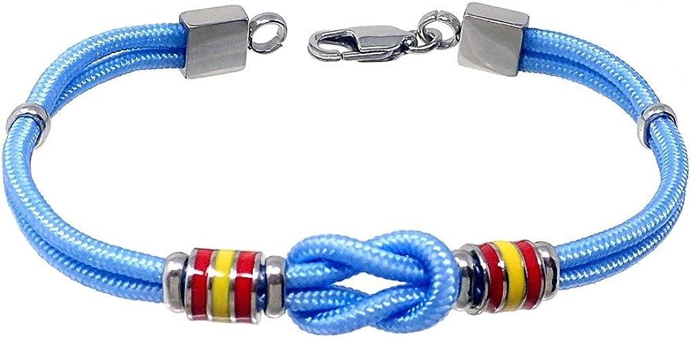 Pulsera acero 21cm. bandera España motivo nudo azul cordón [AB7216]: Amazon.es: Joyería