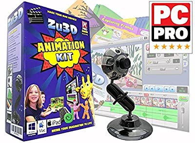 Zu3D Animation Kit for Windows PCs, Apple Mac OS X and iPad iOS: complete stop motion animation kit with camera, software and animation handbook