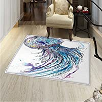 Jellyfish Area Rug Carpet Aqua Colors Art Ocean Animal Print Sketch Style Creative Sea Marine Theme Living Dinning Room Bedroom Rugs 3x4 Blue Purple White