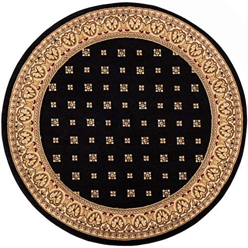Black Transitional Round Rug - Noble Palace Black French European Formal Traditional 5 Round ( 5'3