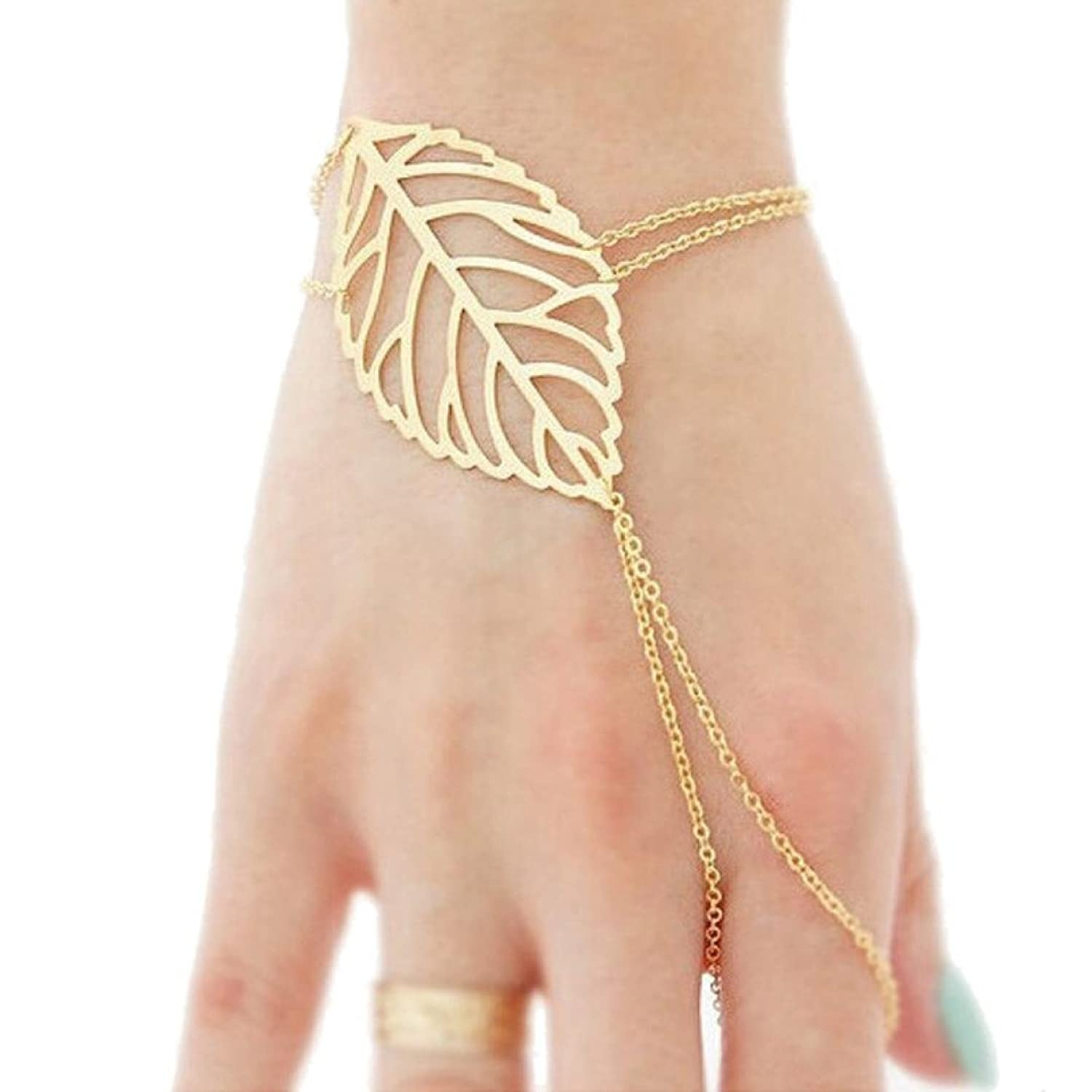 LHWY Fashion Women Hollow leaves Finger Ring Bangle Slave Chain ...