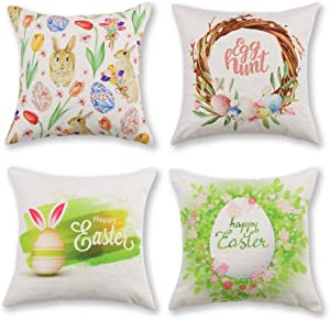 Adeeing Spring Pillow Covers 18x18 Inch Set of 4 Farmhouse Pillow Covers Flower Wreath Bunny Decorative Cushion Case Home Decor for Couch Sofa Bed