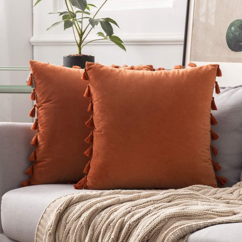 MIULEE Pack de 2 Terciopelo Funda de Borla Cojine Fundas Almohada del Sofá Throw Cojín Decoración Caso de la Cubierta Decorativo Almohadas para Sala de Estar 18x18inch 45x45cm Naranja