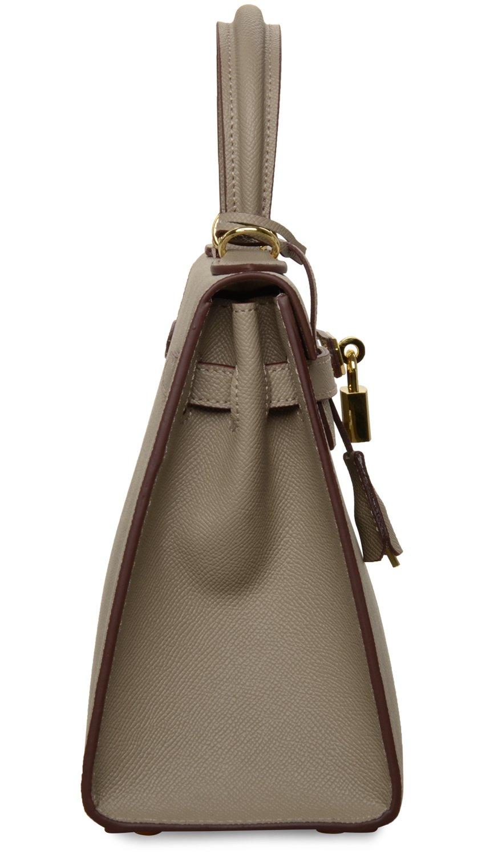 Women's Padlock Handbag Genuine Leather Taiga Top Handle Satchel Bag Cherish Kiss(28CM, Taupe) by Cherish Kiss (Image #3)