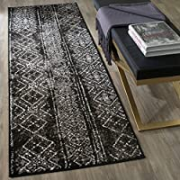 UN3 26 x 8 Southwestern Vintage Boho Black Silver Runner Rug, Dark Polypropylene Sparkling Diamond Global Transitional Oriental Quality Fashionable, Hallway Living Room Bedroom Indoor Accent Carpet