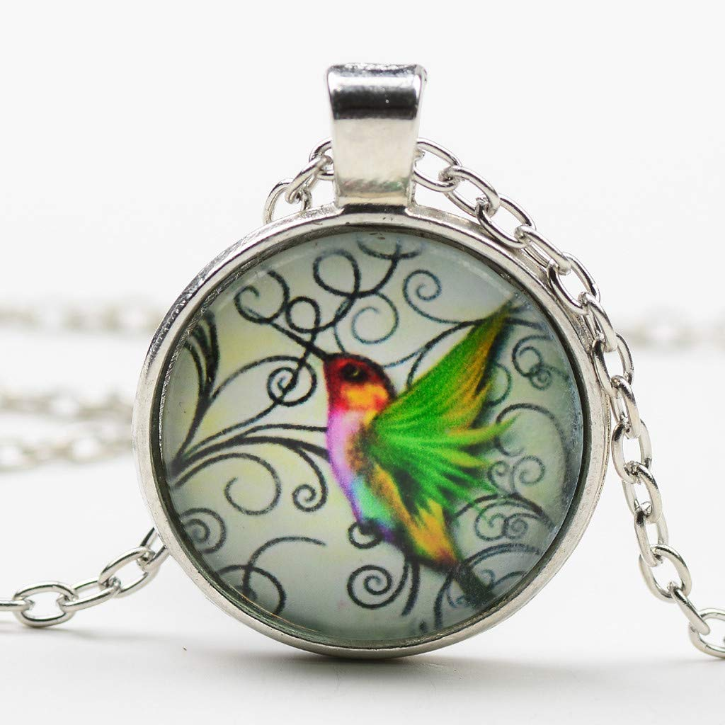 Voberry- New Hummingbird Jewelry Necklace Blue Hummingbird Charming Pendant Necklace (Multicolor)