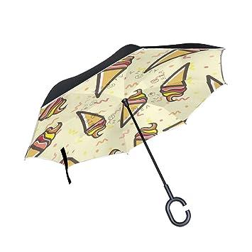 BENNIGIRY - Paraguas invertido de Doble Capa para Helado, Plegable, protección contra el Viento