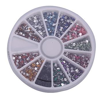Amazon Com 3000pcs 2mm 12 Color Nail Art Nailart Square Shape