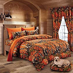 20 Lakes Woodland Hunter Camo Comforter, Sheet, & Pillowcase Set (Full, Orange)