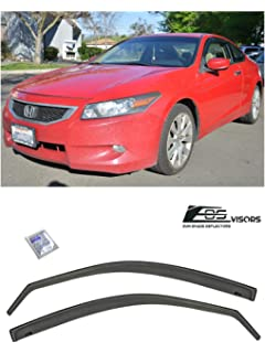 LQQDP 4pcs Smoke Tint With Chrome Trim Outside Mount Tape On//Clip On Style PVC Sun Rain Guard Vent Shade Window Visors Fit 08-12 Honda Accord 4-Door Sedan