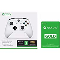 Microsoft Game Studios Combo: Control Inalámbrico Xbox, color Blanco + Xbox Live Gold 3 meses - Xbox One Bundle Edition