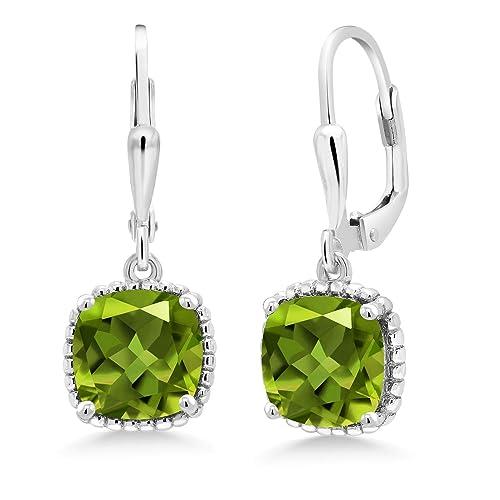 Gem Stone King Green Peridot 925 Sterling Silver Dangling Earrings 4.90 Cttw Cushion Cut Gemstone Birthstone 8MM