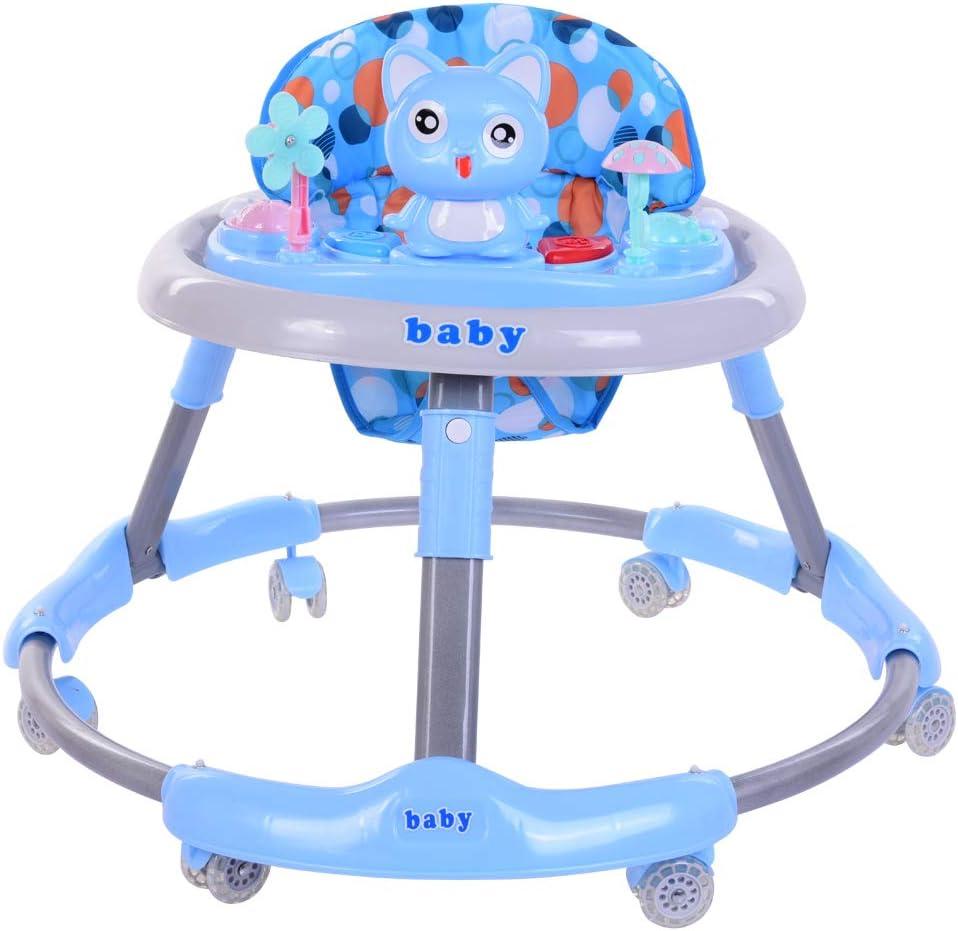 Trotteur B/éb/é Pliable avec Frein,Trotteur Peut R/églable 4 Hauteur pour Enfant de 6 /à 18 Mois Bleu